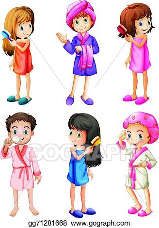 Humans clipart grooming. Vector illustration kids eps