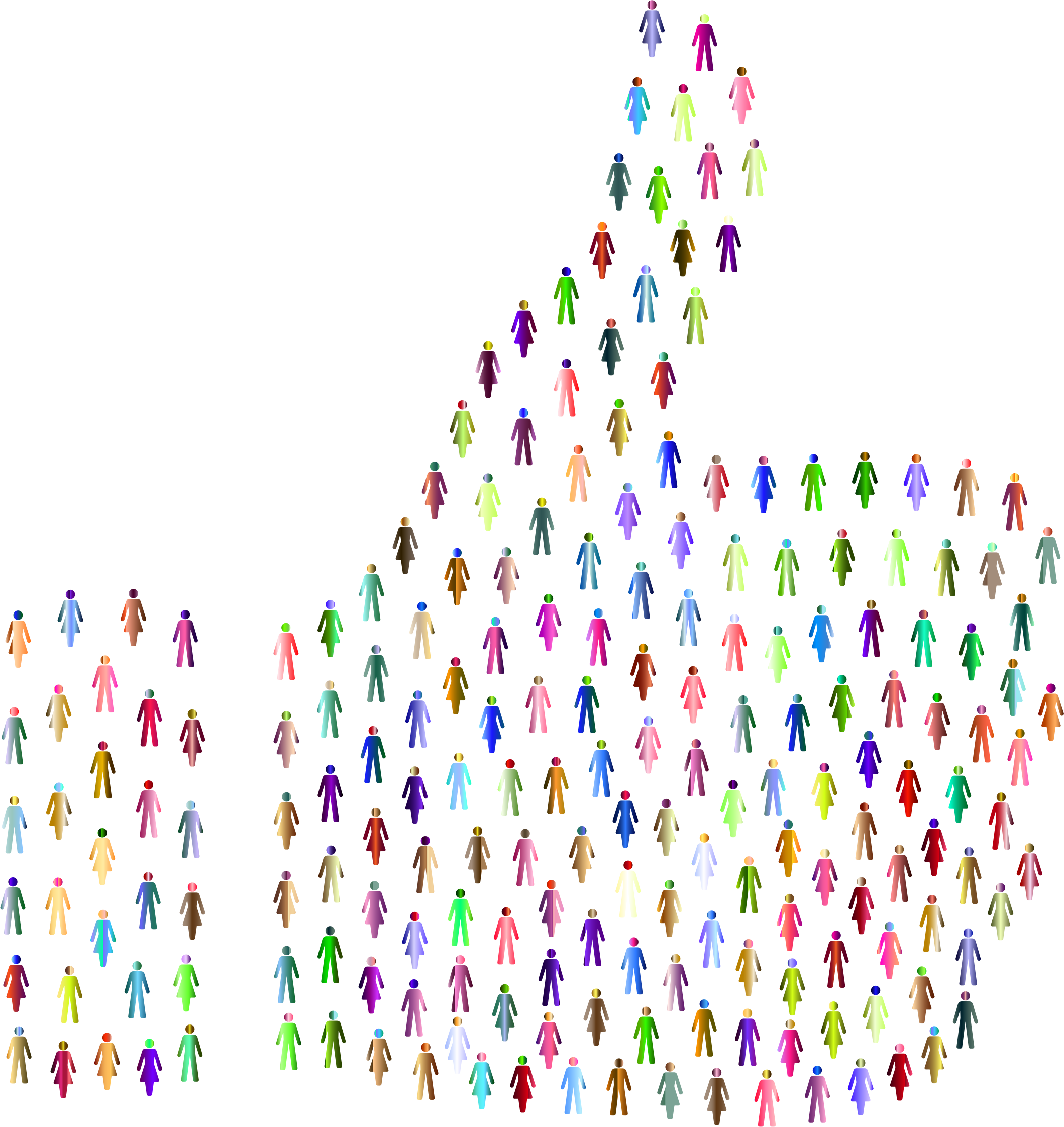Prismatic people thumbs up. Humans clipart human symbol