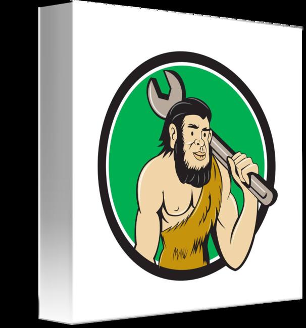 Humans clipart neanderthal man. Caveman with spanner circle