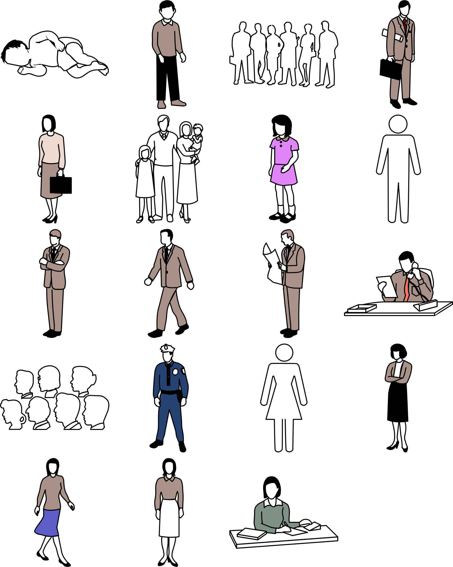 Different people icons big. Humans clipart peope