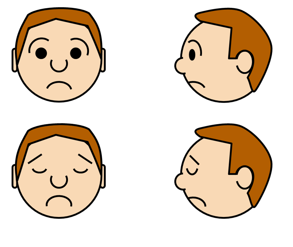 Facial expression custom paper. Humans clipart sad