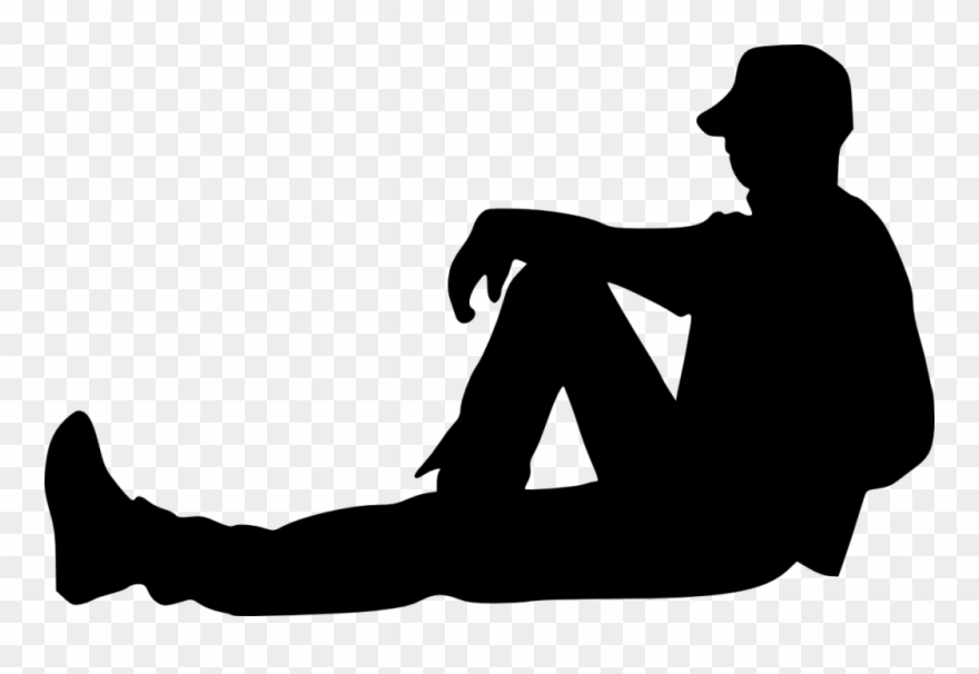 Sitting silhouette people png. Sit clipart person
