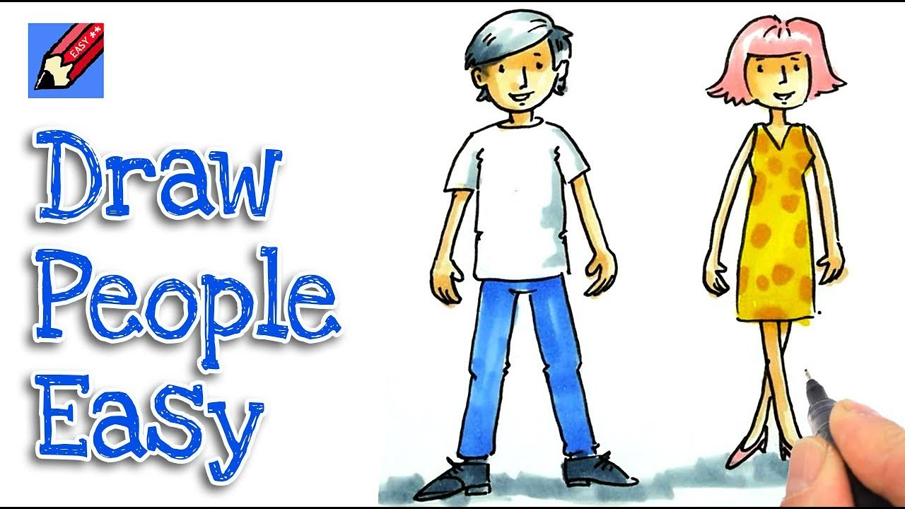 Humans clipart step. How to draw cartoon