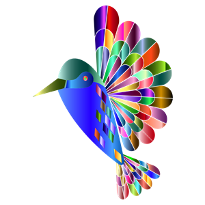Chromatic cliparts of . Hummingbird clipart abstract