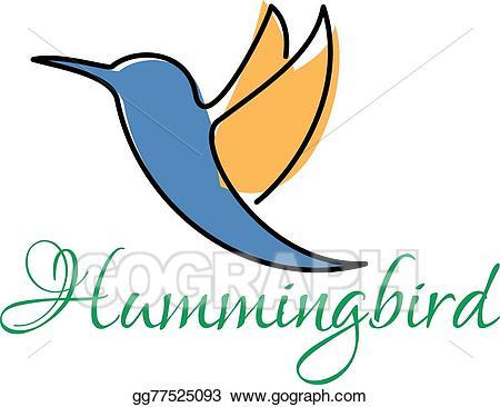 Hummingbird clipart abstract. Vector art blue and