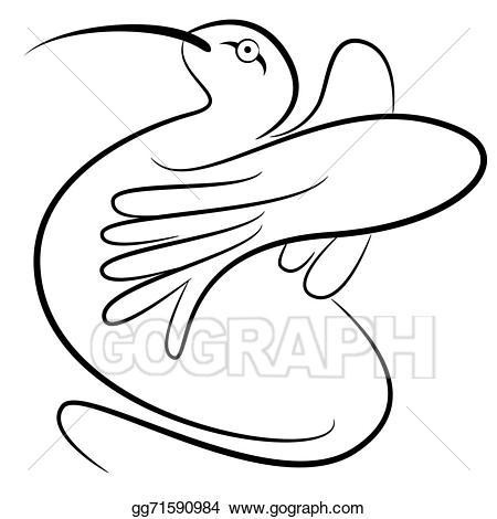 Vector art drawing . Hummingbird clipart abstract