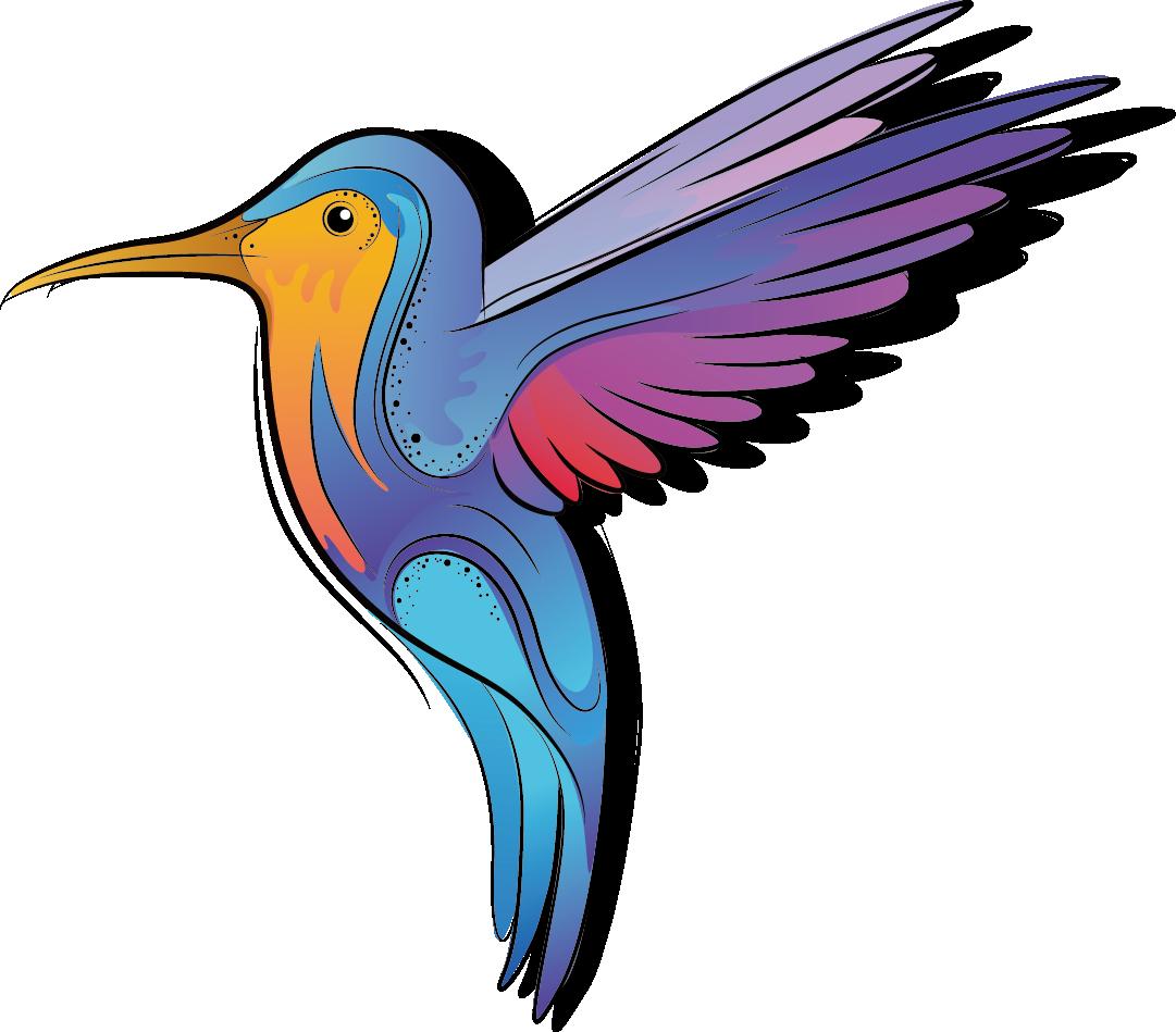 Hummingbird clipart bee. Color cartoon bird transprent