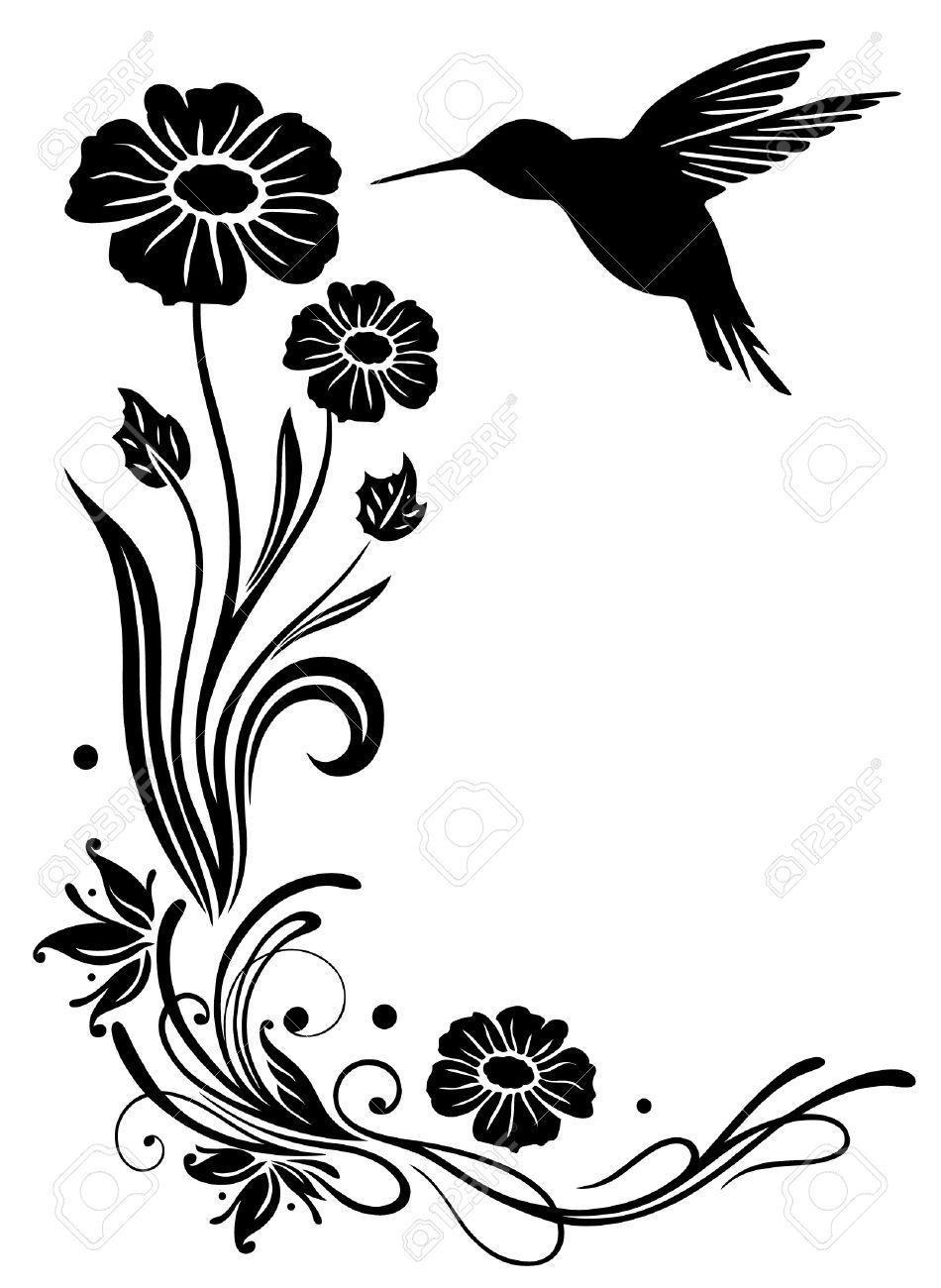 Stencil frames illustrations . Hummingbird clipart flower tattoo