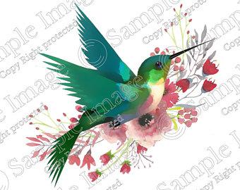 Etsy . Hummingbird clipart green hummingbird