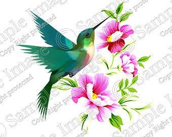 Hummingbird clipart hummingbird flower. Etsy