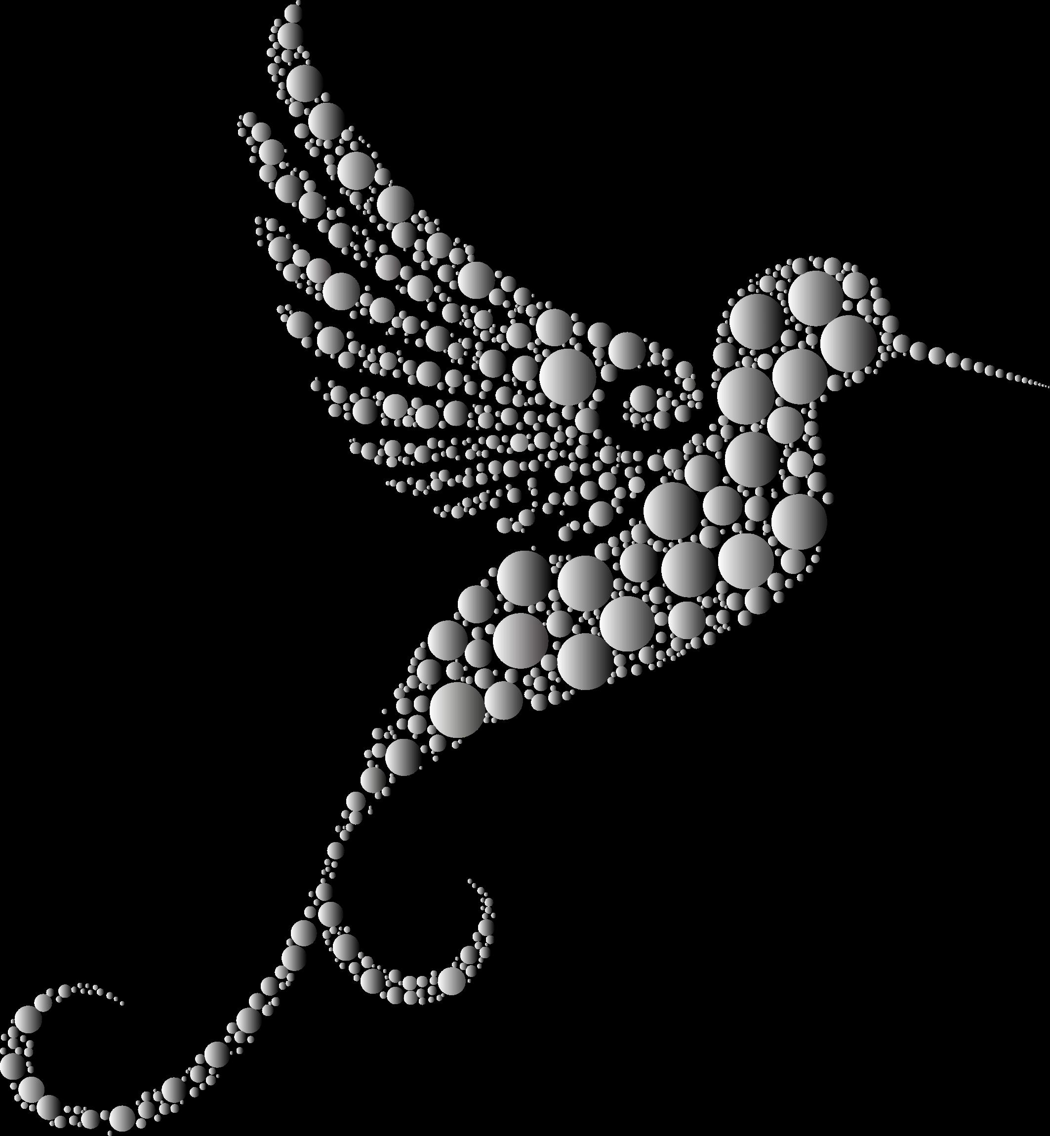 Prismatic circles no background. Hummingbird clipart mandala