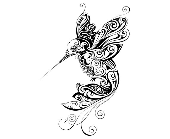 Zentangle animal tattoo silhouette. Hummingbird clipart mandala