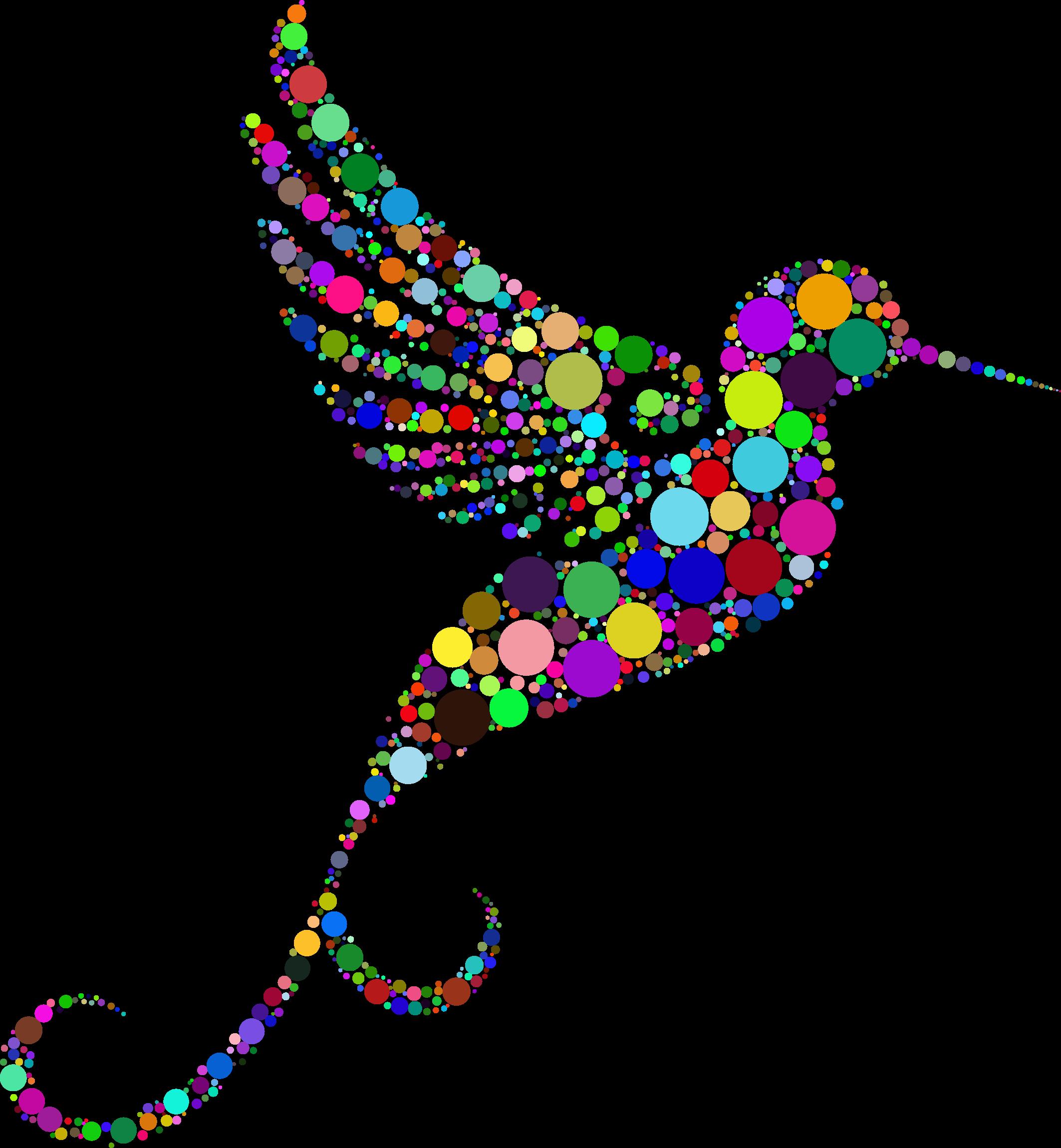 Prismatic circles big image. Hummingbird clipart rainbow
