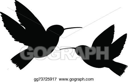 Vector stock silhouette illustration. Hummingbird clipart two