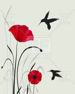Poppy clipart two. Hummingbird silhouettes and red