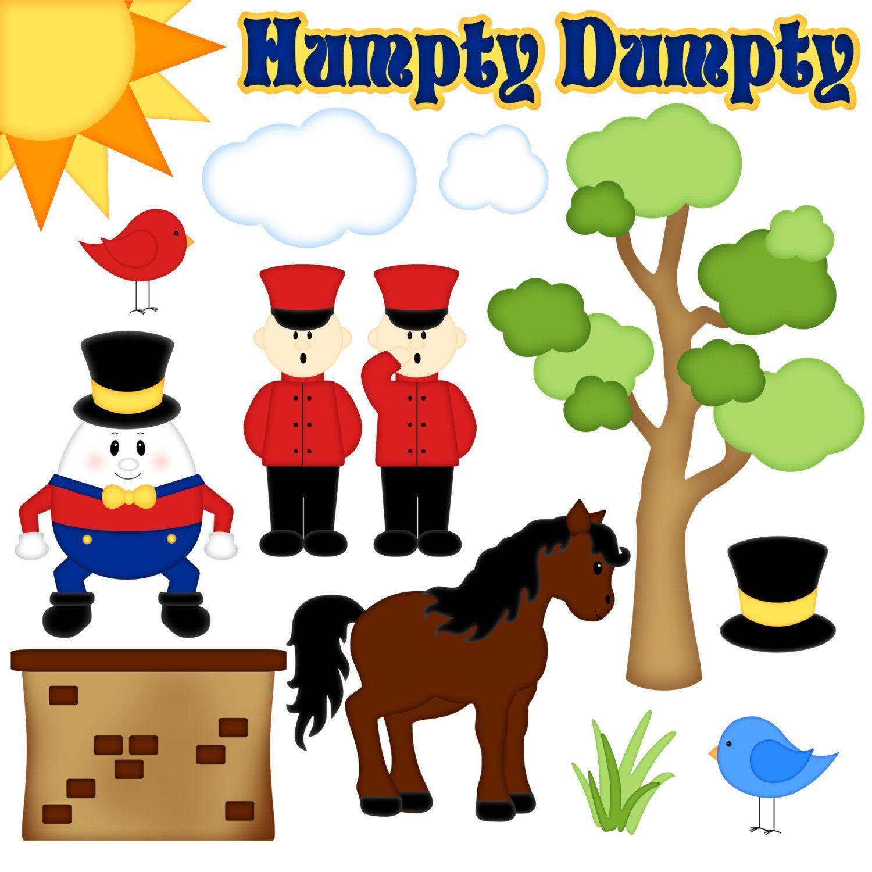 Nursery rhyme digital set. Humpty dumpty clipart clip art