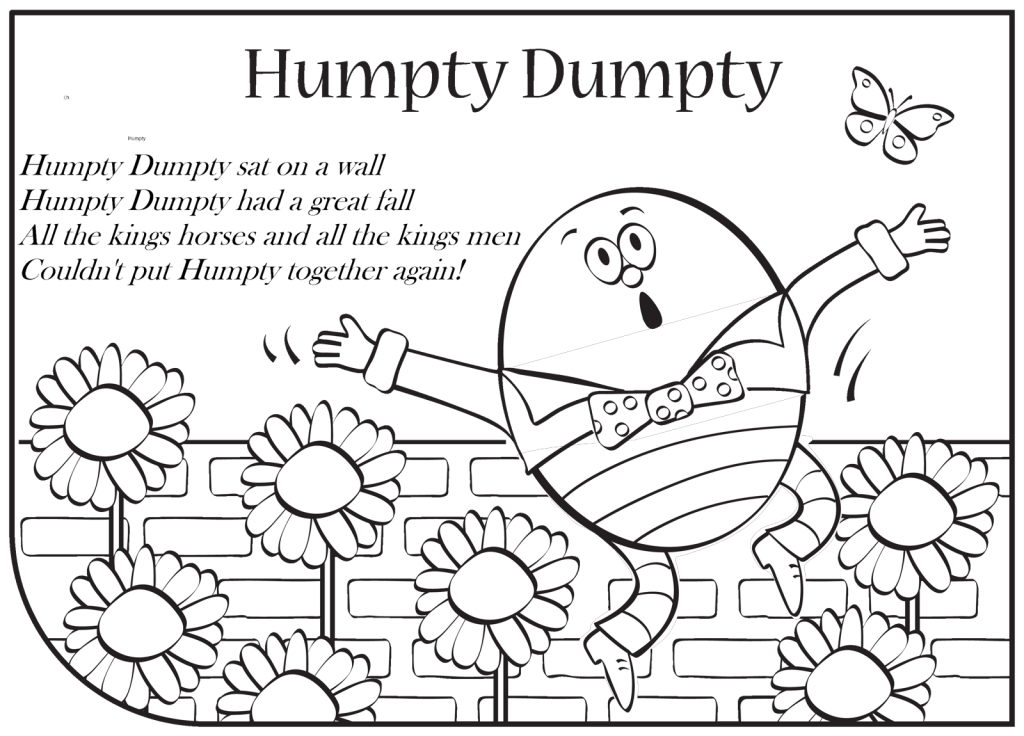 Amazing nursery rhyme coloring. Humpty dumpty clipart color