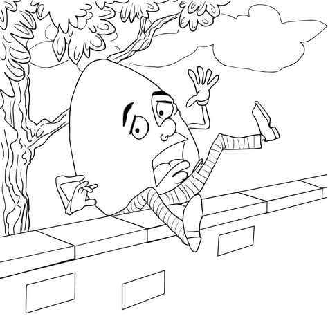 Humpty dumpty clipart coloring page. Fell off the wall