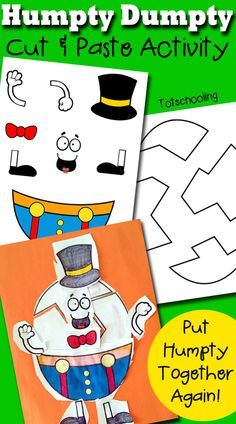 Humpty dumpty clipart craft. Printable cut paste activity