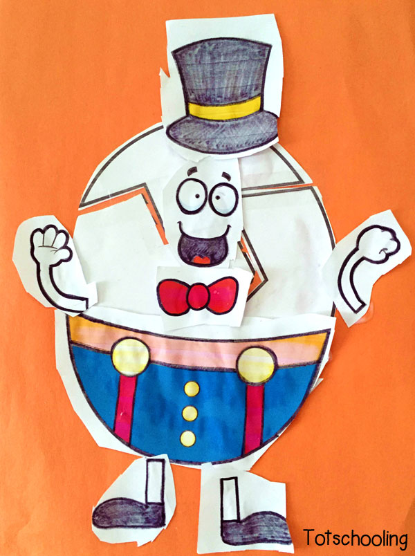 Printable activity totschooling . Humpty dumpty clipart cut and paste