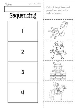 Humpty dumpty clipart cut and paste. Nursery rhyme worksheets activities