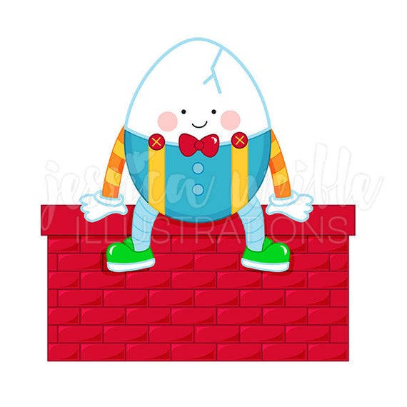 Digital mother goose rhyme. Humpty dumpty clipart cute