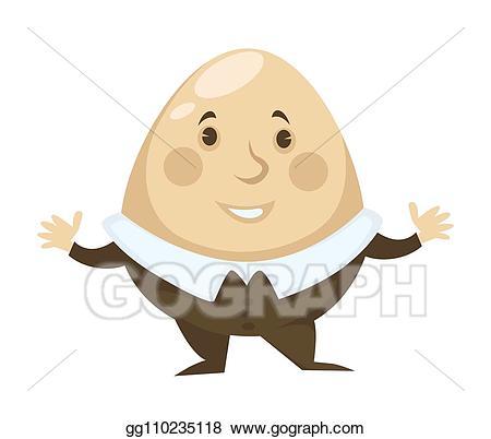 Humpty dumpty clipart fairy tale. Vector art alice in