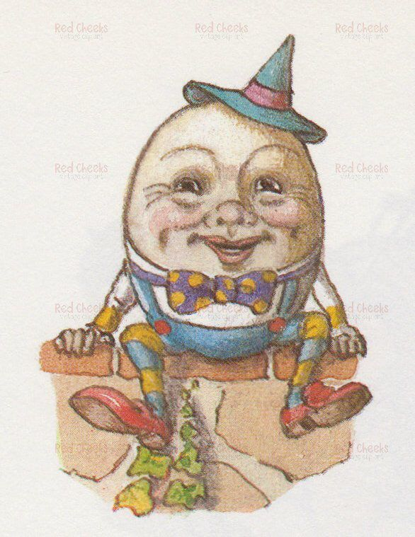 Digital download of vintage. Humpty dumpty clipart humpry