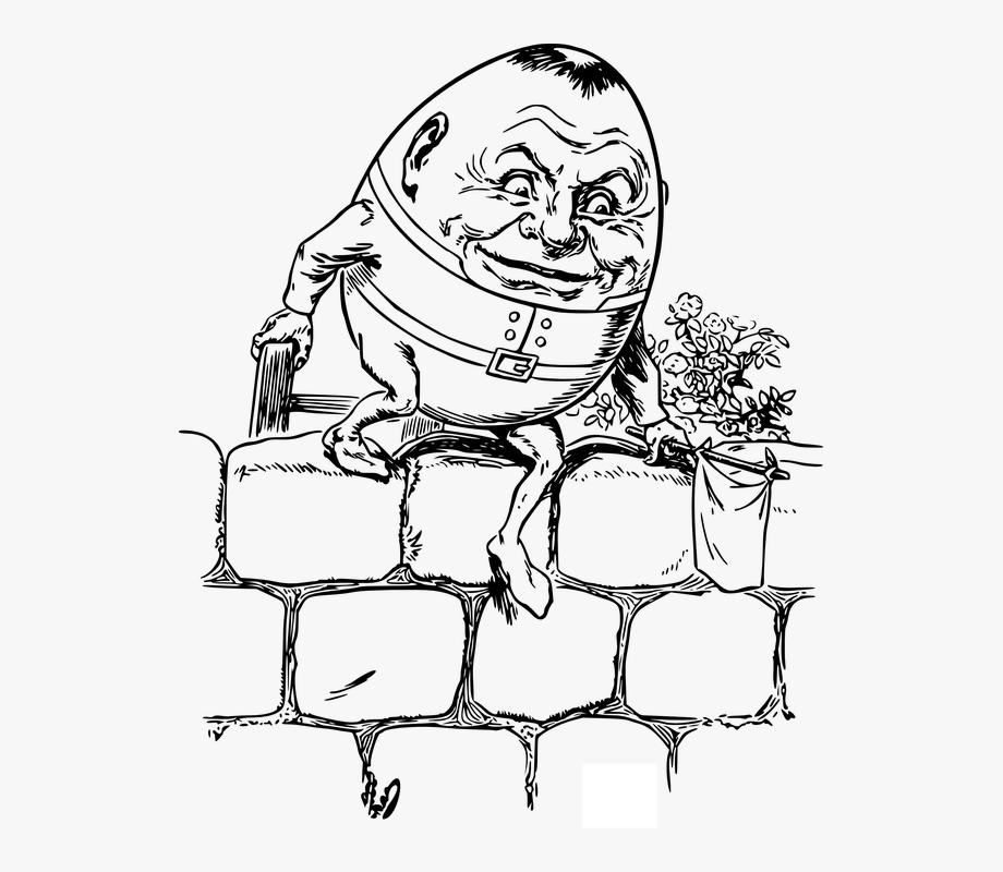 Humpty dumpty clipart line. Nursery rhyme cartoon