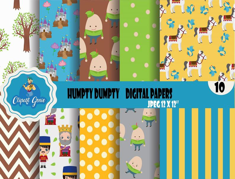 Digital paper nursery rhyme. Humpty dumpty clipart pattern
