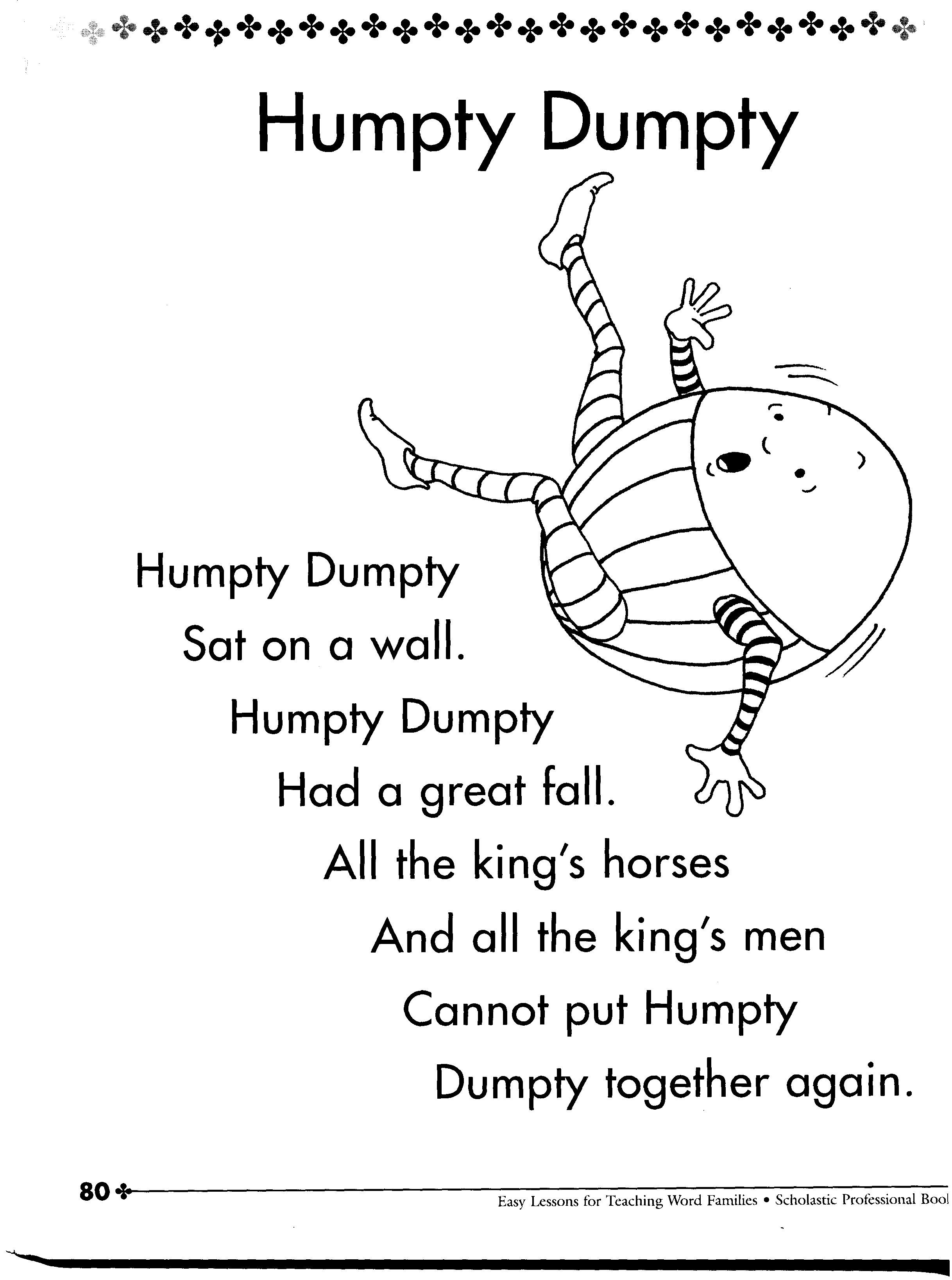 It never said he. Humpty dumpty clipart poem