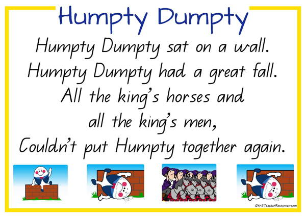 Humpty dumpty clipart poem. Nursery rhyme