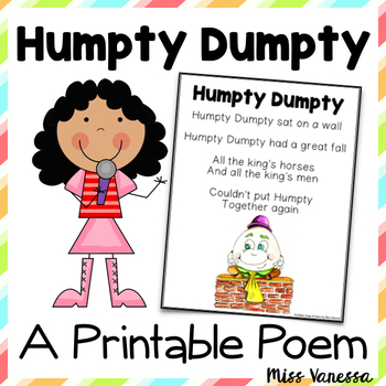Humpty dumpty clipart poem. Printable nursery rhyme