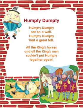 Classic nursery rhyme printable. Humpty dumpty clipart story