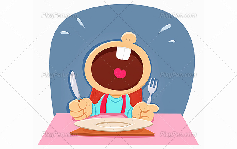 Child download vector clip. Hungry clipart