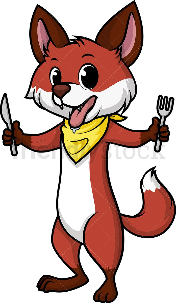 Hungry clipart animated. Fox food drink in