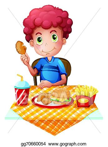 Vector illustration a boy. Hungry clipart eating