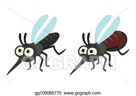 Hungry clipart full. Vector cartoon mosquito set