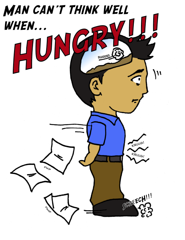 Can t think well. Hungry clipart hungry man