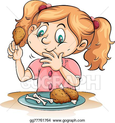 Hungry clipart little girl. Eps illustration eating chicken