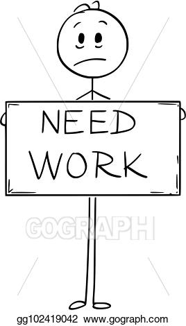 Vector cartoon of unemployed. Hungry clipart sad