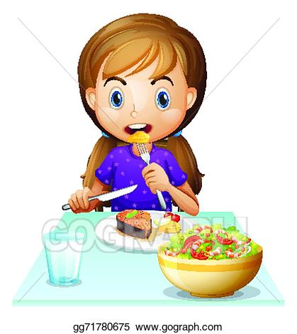 Hungry clipart sunday lunch. Vector stock a girl