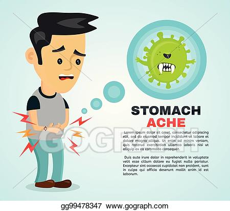 Vector stock young sick. Hungry clipart tummy ache