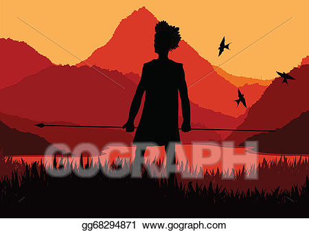 Hunter clipart african native. Vector in wild nature