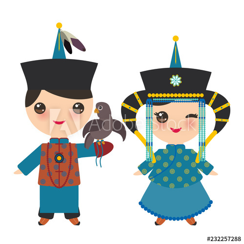 Hunter clipart boy hunting. Mongolian and girl in