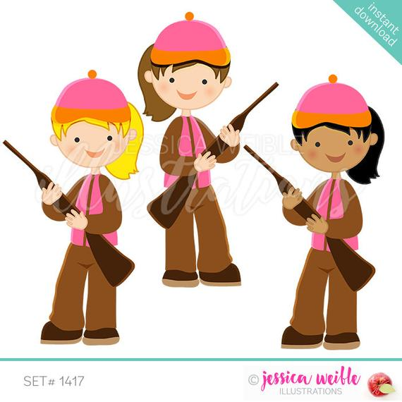 Hunting girl cute digital. Hunter clipart clip art
