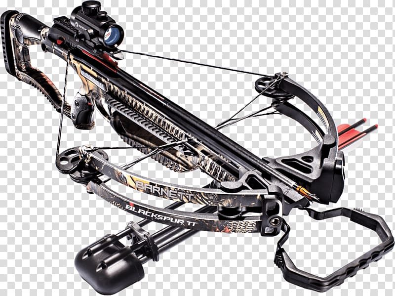 Hunting weapon red dot. Hunter clipart crossbow