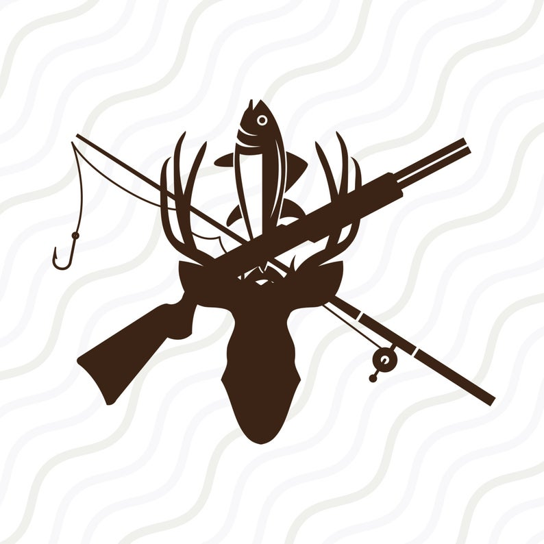 Hunter clipart deer rifle. Hunting and fishing svg