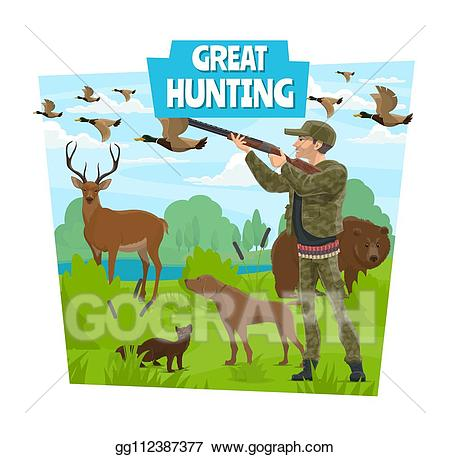 Vector hunting adventure and. Hunter clipart forest clipart