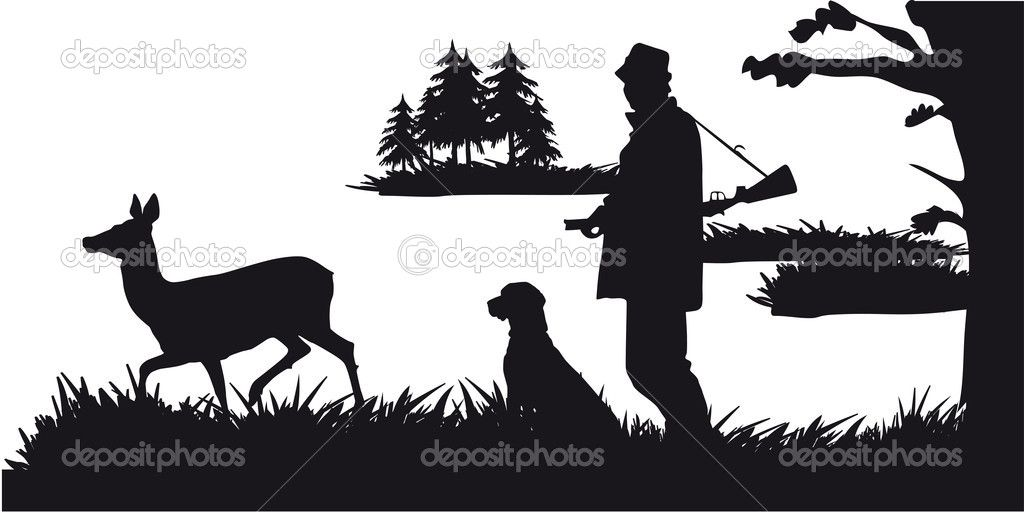 Hunting clipart forest. Hunter with dog animals